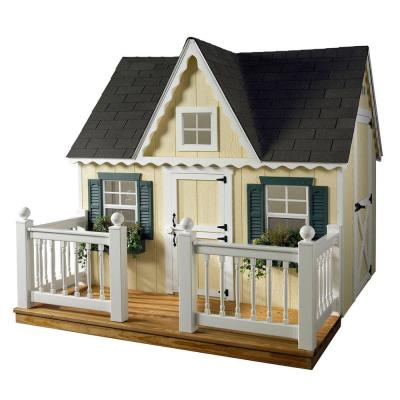 HomePlace Structures 6 ft. x 8 ft. Deluxe Victorian Playhouse with Deck and Vinyl Railing