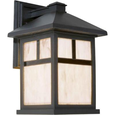 Talista 1-Light Outdoor Black Lantern with Honey Glass Panels