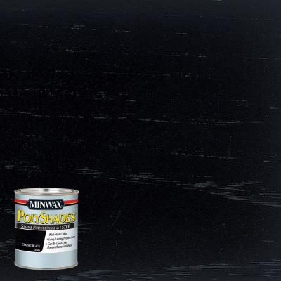8 oz. PolyShades Classic Black Gloss Stain and Polyurethane in 1-Step