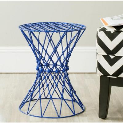 Charlotte Iron Wire Stool End Table in Dark Blue