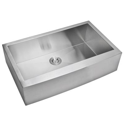 Water Creation Farmhouse Apron Front Zero Radius Stainless Steel 36 in. Single Basin Kitchen Sink in Satin