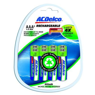 ACDelco 800 mAh Precharged Rechargeable NiMH AAA Battery (8-Pack)