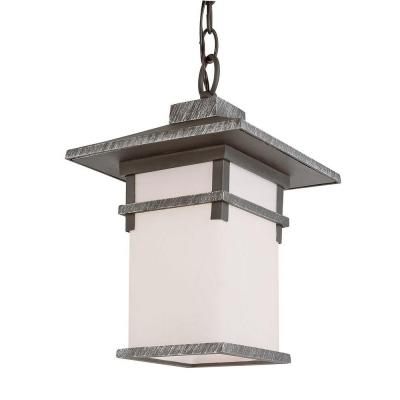 Bel Air Lighting Black Outdoor Hanging Lantern with White Frost Glass