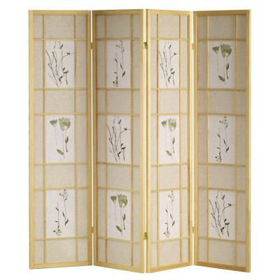 Home Decorators Collection 4-Panel Shoji Screen Room Divider with Natural Finish