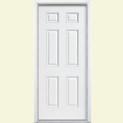 6-Panel Primed Steel Prehung Front Door with Brickmold
