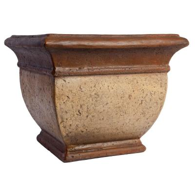 Merola Tile 16-1/2 in. Cultured Stoneware Palermo Cream with Bronze Planter-DISCONTINUED