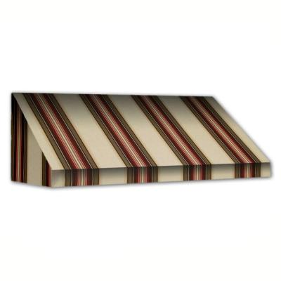 AWNTECH 4 ft. New Yorker Window/Entry Awning (24 in. H x 42 in. D) in Brown / White Stripe