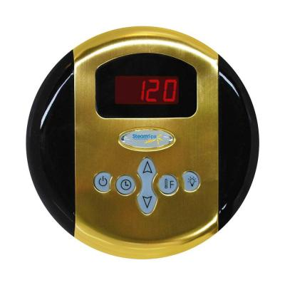 Programmable Steam Bath Generator Control Panel with Presets in Polished Brass Product Photo