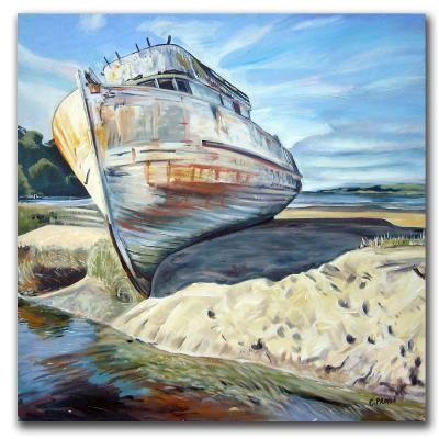 null 14 in. x 14 in. Inverness Boat Canvas Art