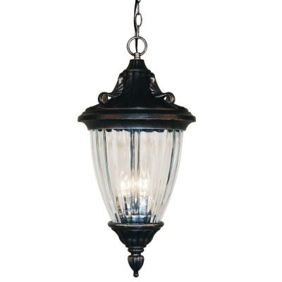 Tulen Lawrence 3-Light Outdoor Black Silver Incandescent Hanging Pendant