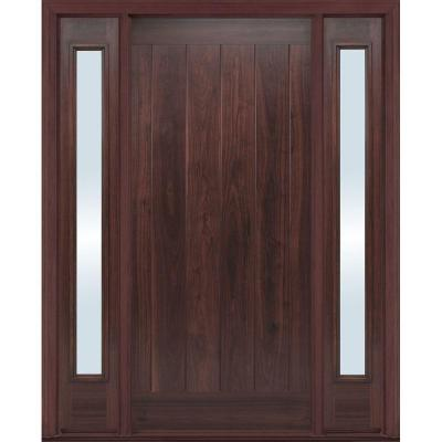 36 in. x 80 in. AvantGuard Flagstaff Finished Smooth Fiberglass Prehung Front Door with No Brickmold and Sidelites Product Photo
