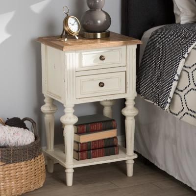 Baxton Studio Marquetterie French Provincial White Finished 2-Drawer Night..