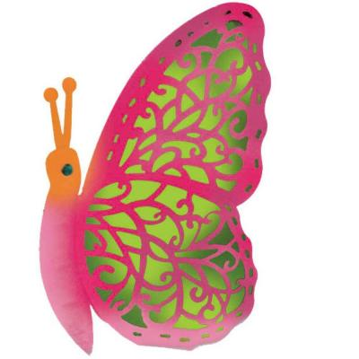 null 12 in. Pink Solar Crazy Critter Butterfly with Pink Light