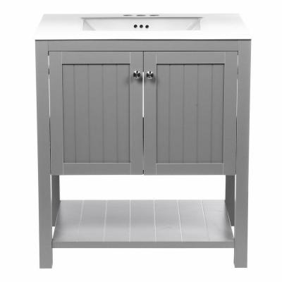 Cranbury 30 in. Vanity in Cool Gray with Vitreous China Vanity