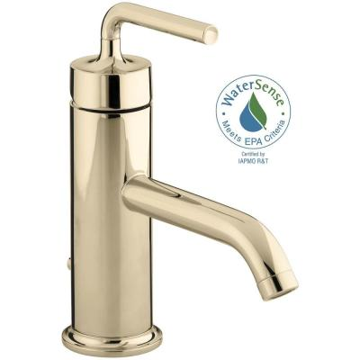KOHLER Purist Single Hole Single Handle Low-Arc Bathroom Faucet with Straight Lever Handle in Vibrant French Gold