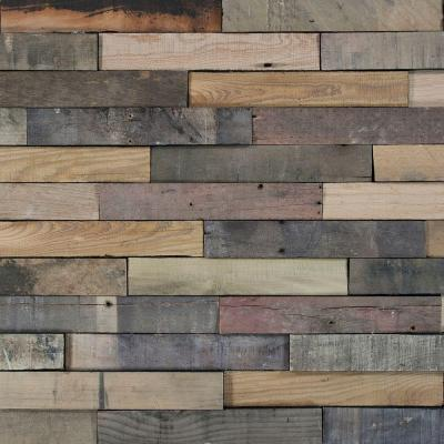 Deco Planks Picket Fence Sun Baked 1/2 in. x 2 in. Wide x 12 in. Length Solid Hardwood Wall Planks (10 sq. ft. / case) Product Photo