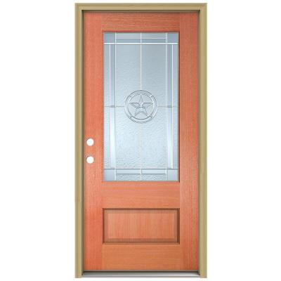 36 in. x 96 in. Lone Star 3/4 Lite Unfinished Mahogany Wood Prehung Front Door with Brickmould and Zinc Caming Product Photo
