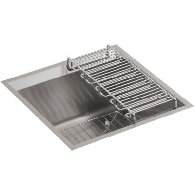 KOHLER 8 Degree Undermount Stainless Steel 18 in. Single Basin Entertainment Sink Kit