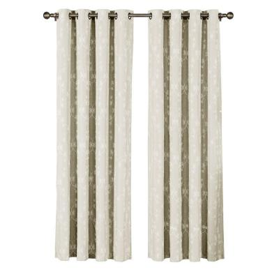 Geo Gate Embroidered Faux Linen Ivory Grommet Extra Wide Curtain Panel - 54 in. W x 96 in. L Product Photo