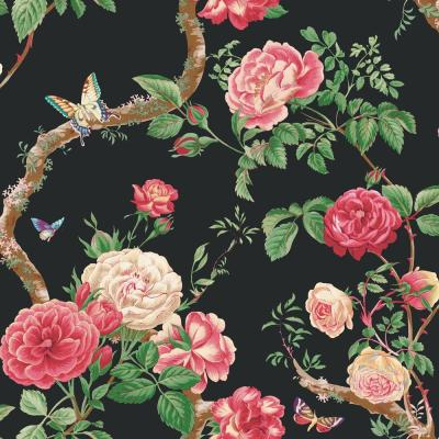 8 in. x 10 in. Black Large Rose and Vine Wallpaper Sample Product Photo
