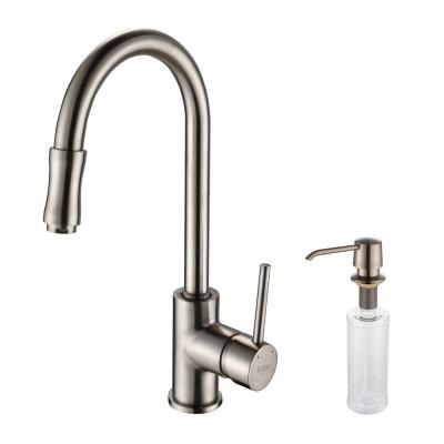 KRAUS Single-Handle Pull-Out Sprayer Kitchen Faucet with Soap Dispenser in Satin Nickel