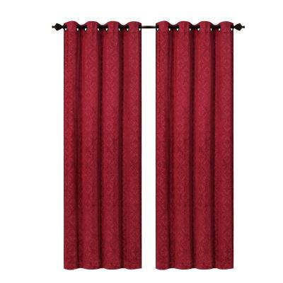 Matine Trellis Extra Wide Burgundy Embossed Velvet Grommet Curtain Panel -