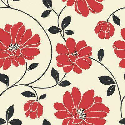 '20.5 In. W Red, Black and Cream Large Scale Modern Floral Wallpaper