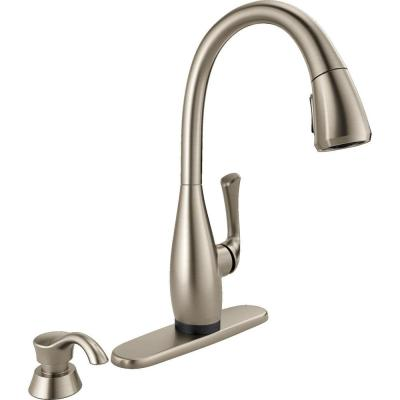 Delta Dominic Single-Handle Pull-Down Sprayer Kitchen Faucet with Touch2O Technology & Soap Dispenser in SpotShield Stainless