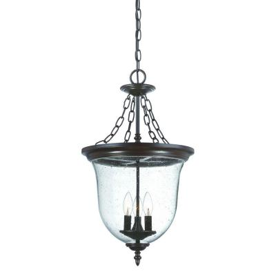 Belle Collection Hanging Lantern 3-Light Outdoor Architectural Bronze Light Fixture