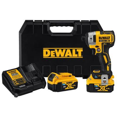 DEWALT 20-Volt MAX XR with Tool Connect Premium Brushless Lithium-Ion ¼in Hex Impact Driver with 2 Batteries, Charger and Case