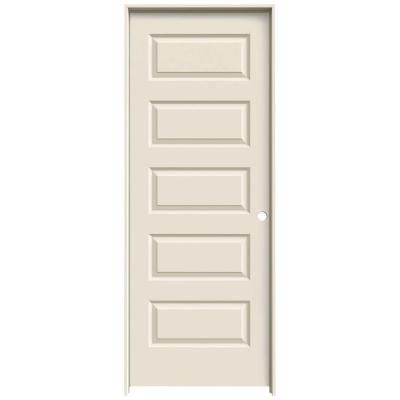 28 in. x 80 in. Molded Smooth 5-Panel Primed White Hollow