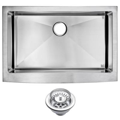 Water Creation Farmhouse Apron Front Stainless Steel 33 in. Single Basin Kitchen Sink with Strainer in Satin