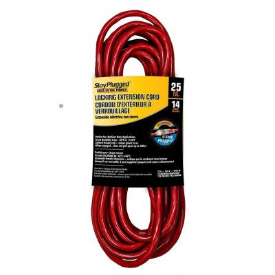 25 ft. 14/3 Stay Plug Extension Cord - Red