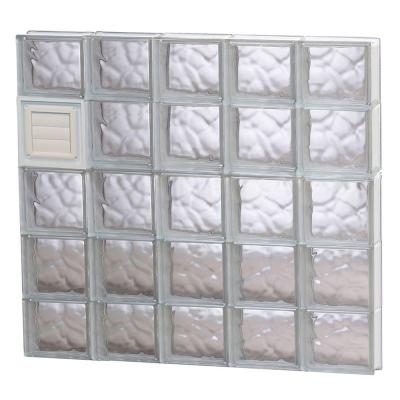 38.75 in. x 34.75 in. x 3.125 in. Wave Pattern Glass Block Window with Dryer Vent Product Photo