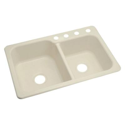 STERLING Maxeen Top Mount Vikrell 33x22x8-3/8 4-Hole Single Bowl Kitchen Sink in Almond