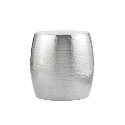 Baylee Drum Shiny Aluminum Accent Table Product Photo