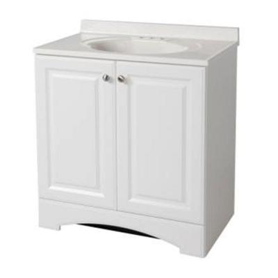 Glacier Bay 30-1/2 in. Vanity in White with AB Engineered Composite Vanity Top in White