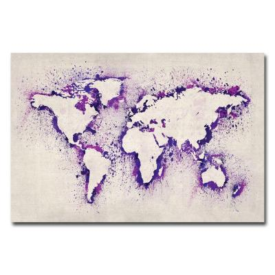 22 in. x 32 in. Paint Outline World Map II Canvas
