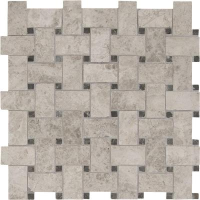 Tundra Gray Basketweave 12 in. x 12 in. x 10 mm Polished Marble Mesh-Mounted Mosaic Floor and Wall Tile Product Photo