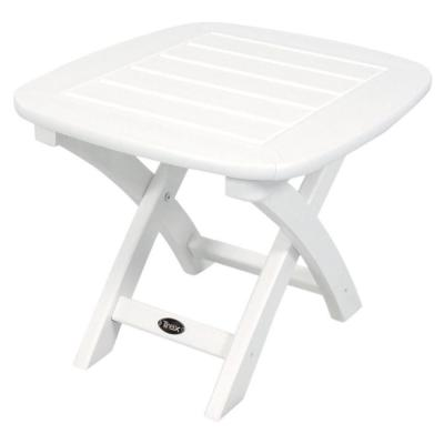 Trex Outdoor Furniture Yacht Club 21 in. x 18 in. Classic White Patio Side Table