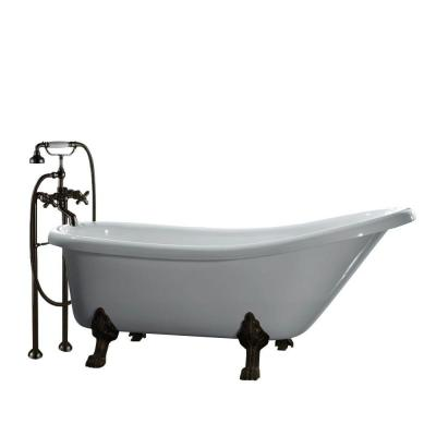 All-In-One 5.5 ft. Acrylic Oil Rubbed Bronze Clawfoot Slipper Tub in White