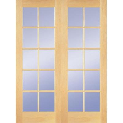 Builder's Choice 48 in. x 80 in. 10-Lite Clear Wood Pine Prehung Interior French Door