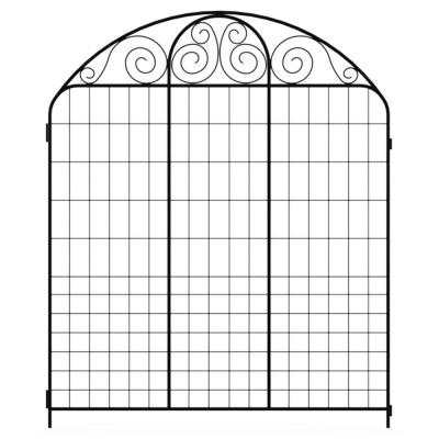 Summer Scroll 3.66 ft. x 3 ft. Black Steel Fence Panel Product Photo