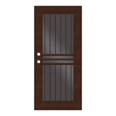 Plain Bar Copperclad Surface Mount Aluminum Security Door w/ Perforated Aluminum Screen
