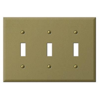 Creative Accents 3 Gang Mild Toggle Wall Plate - Antique Brass