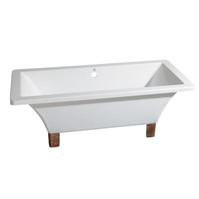 Aqua Eden Modern 5.6 ft. Acrylic Dual Ended Clawfoot Non-Whirlpool Bathtub in White with Square Feet in Naples Bronze