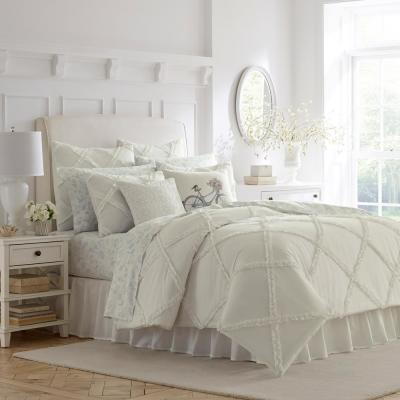 Adelina White Solid Cotton Comforter Set