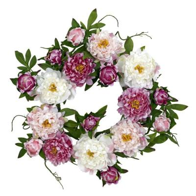 Nearly Natural 22.0 in. H Pink Peony Wreath