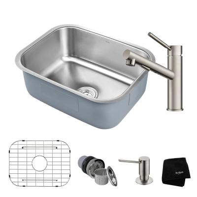 KRAUS Premier All-in-One Undermount Stainless Steel 23 in. Single Bowl Kitchen Sink with Faucet in Stainless Steel