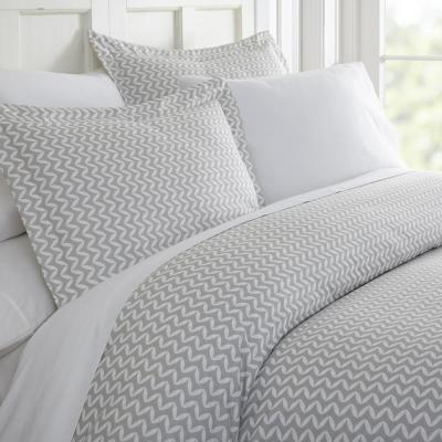 Puffed Chevron 3-Piece Microfiber Duvet Cover Set